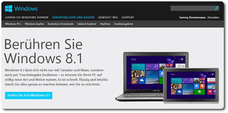 Windows 8.1 im Windows Store