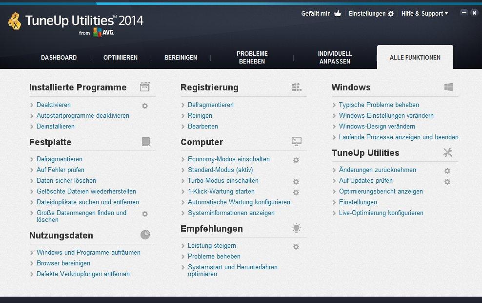 TuneUp Utilities 2014 alle Funktionen
