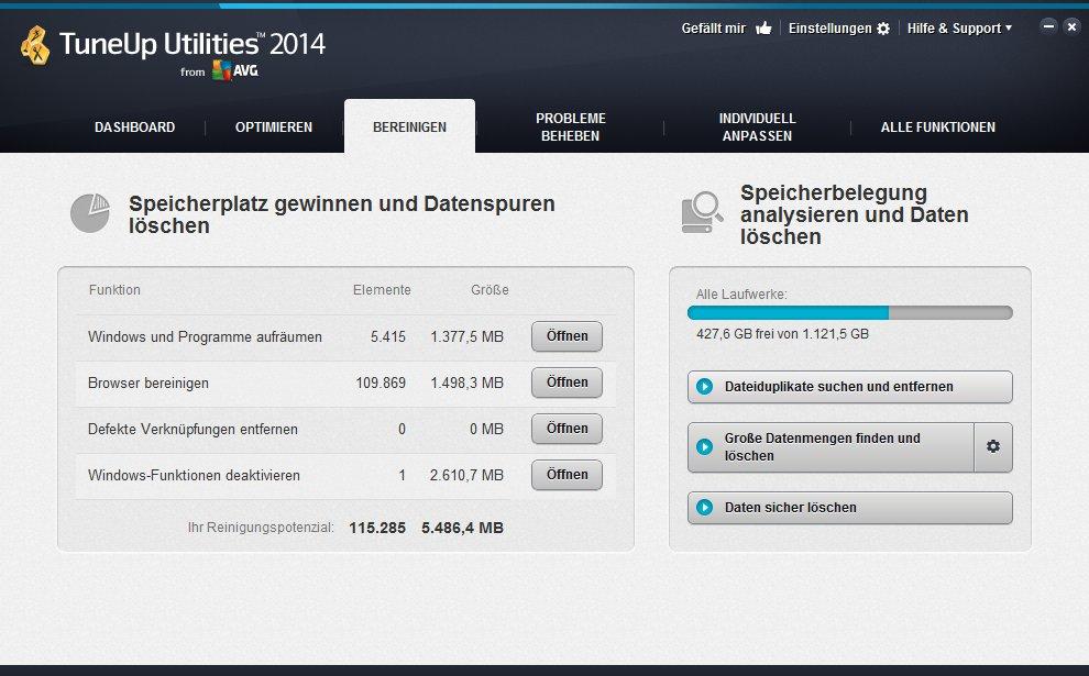 TuneUp Utilities 2014 bereinigen