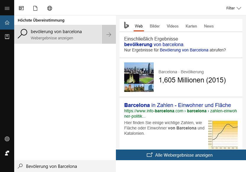 Cortana Suchen ohne Browser