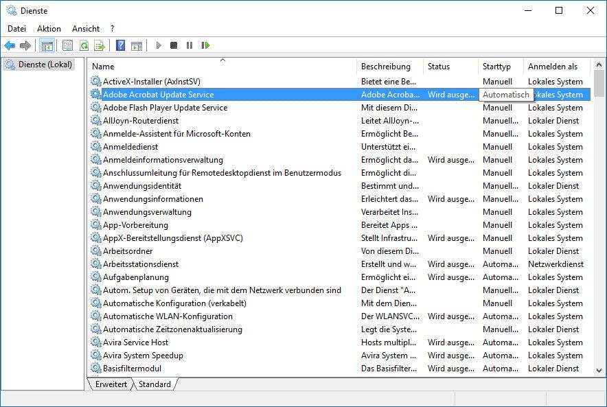 Dienste unter Windows 10 deaktivieren