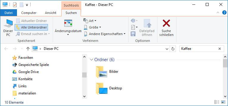 Suche im Datei Explorer von Windows 10