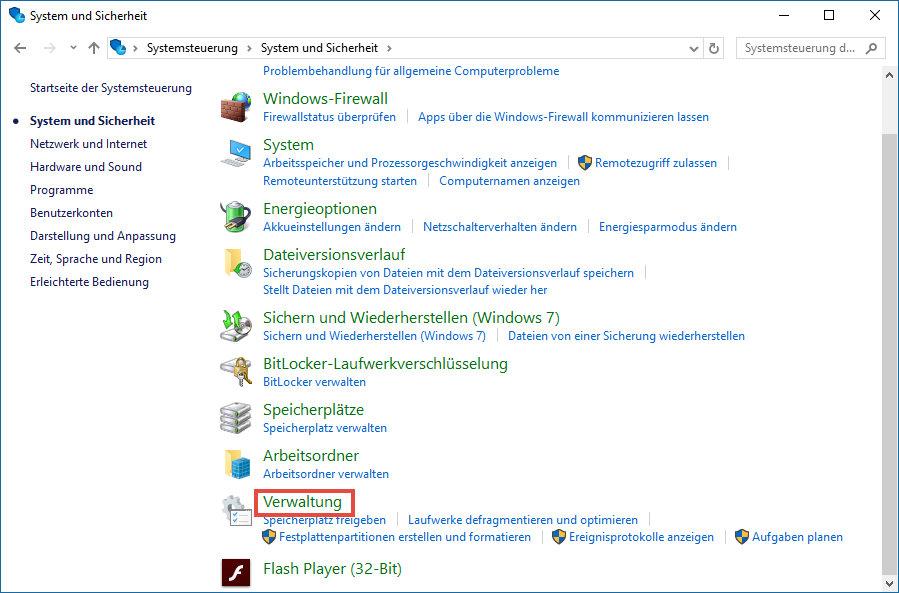 System und Sicherheit Windows10