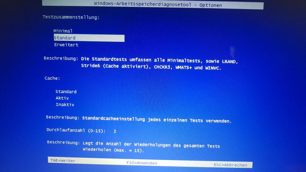 Windows Speicherdiagnose Tool 2